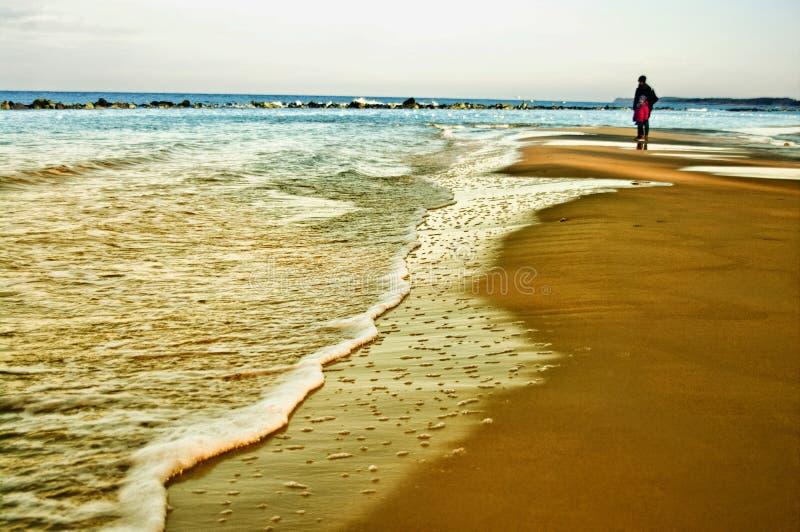 由波罗的海、母亲和女儿的冬天步行 免版税图库摄影