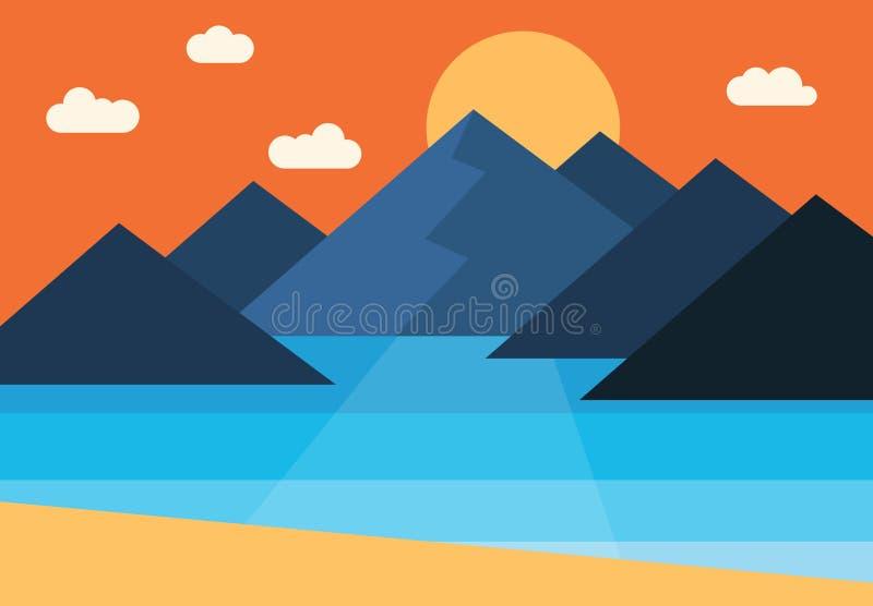 由海导航日落的全景在山的 库存例证
