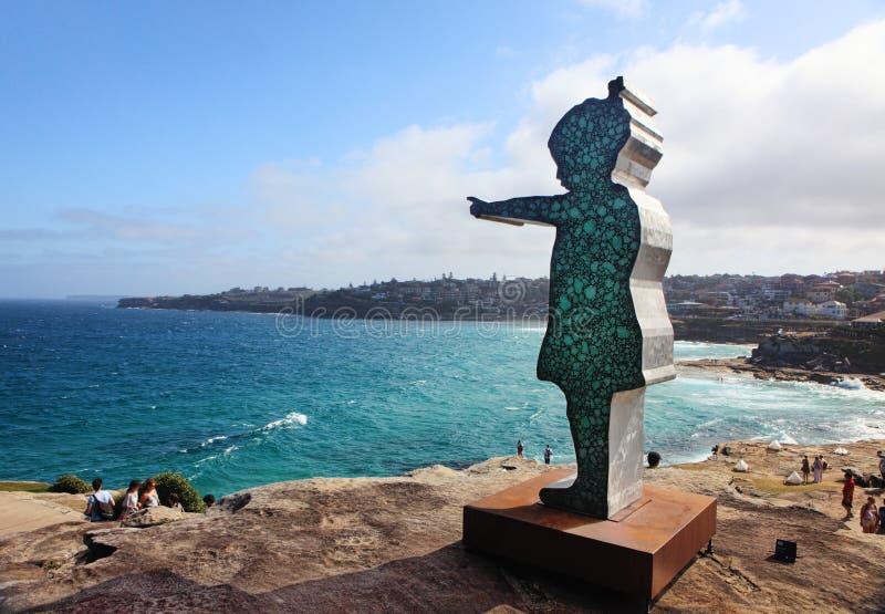 由海展览的雕塑在Bondi澳大利亚 免版税图库摄影
