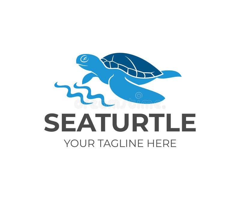 由海岸线和波浪,商标设计的海龟 动物、野生生物、海洋生活和自然,传染媒介设计 皇族释放例证