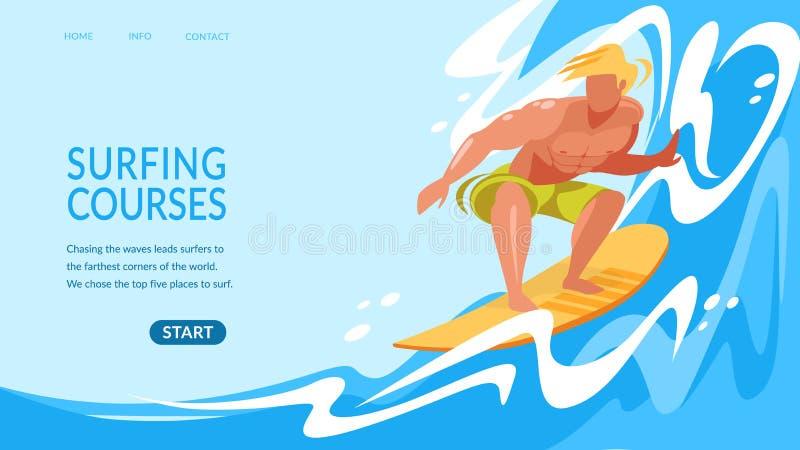 由海浪横幅的年轻人乘坐的水橇板 皇族释放例证