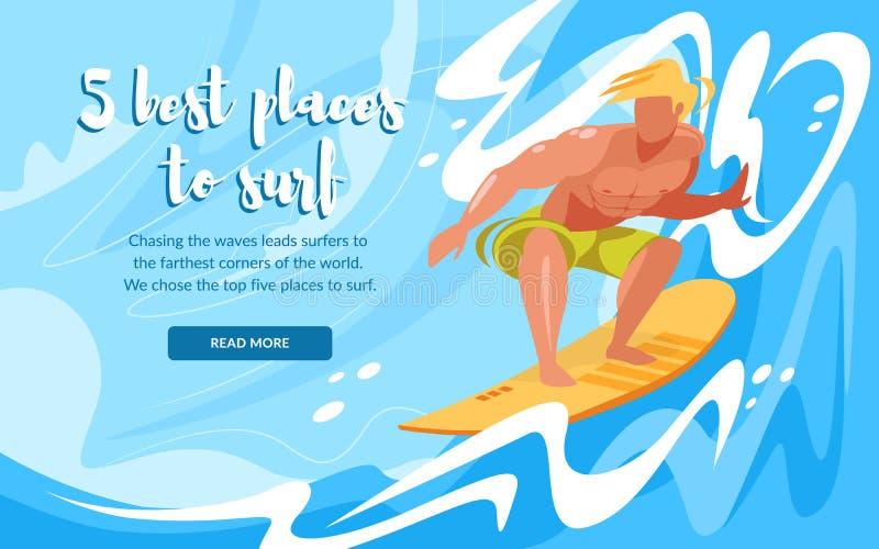 由海浪的人乘坐的水橇板 r 库存例证