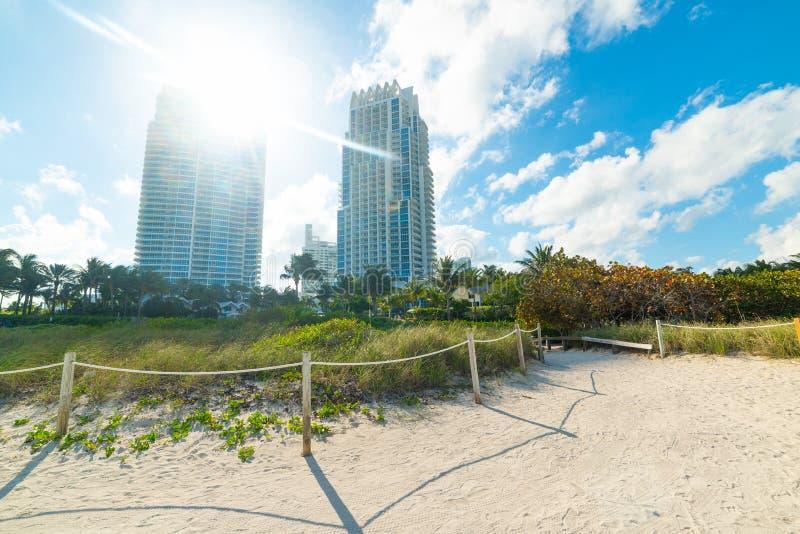 由海滩的摩天大楼在南海滩的光亮的太阳下 免版税库存图片