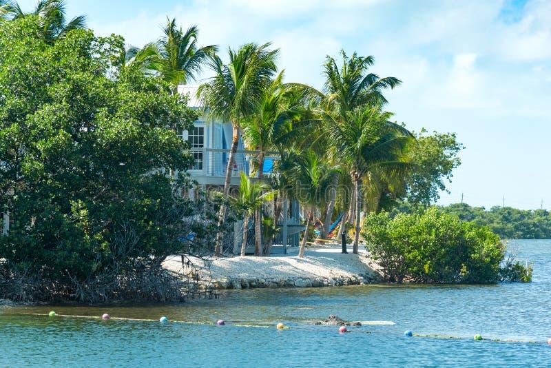 由海的旅馆在美丽的佛罗里达群岛 库存照片