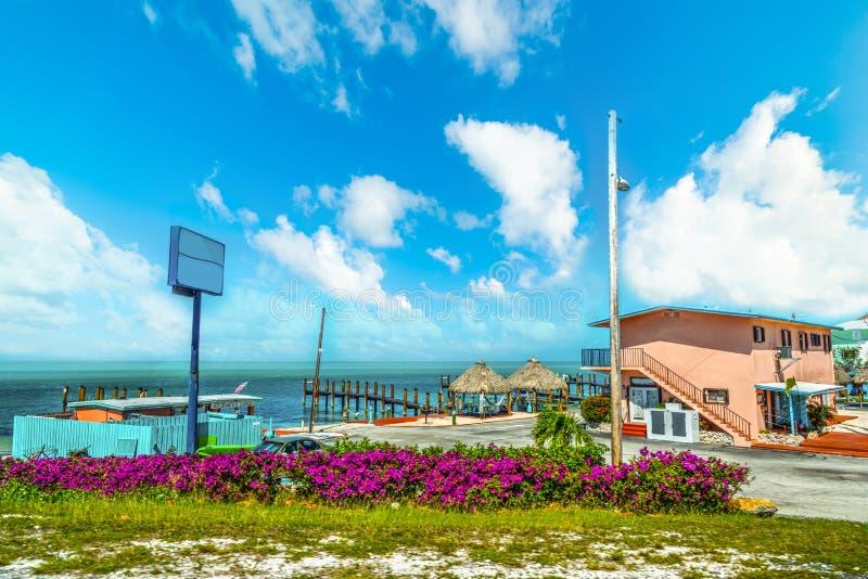 由海的汽车旅馆在佛罗里达群岛 免版税库存图片