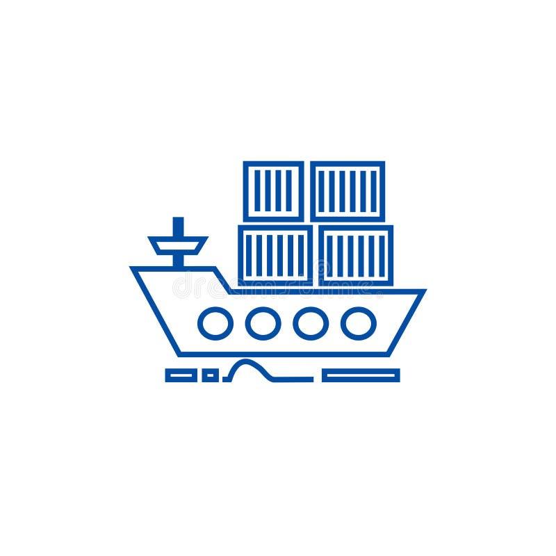 由海船线象概念的货物交付 由海船平的传染媒介标志,标志,概述例证的货物交付 向量例证