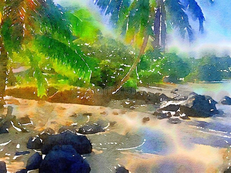 由海滩的热带水彩棕榈树在夏威夷 库存例证