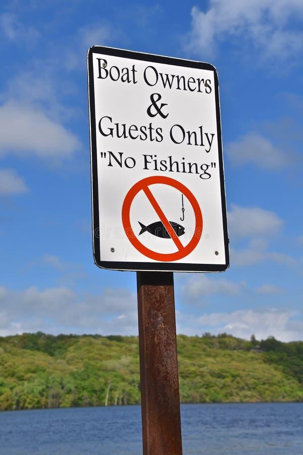 由湖前面的没有钓鱼的标志 库存照片