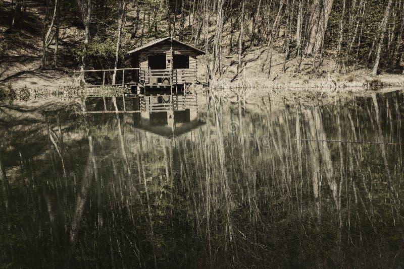 由湖的被放弃的房子 免版税库存照片