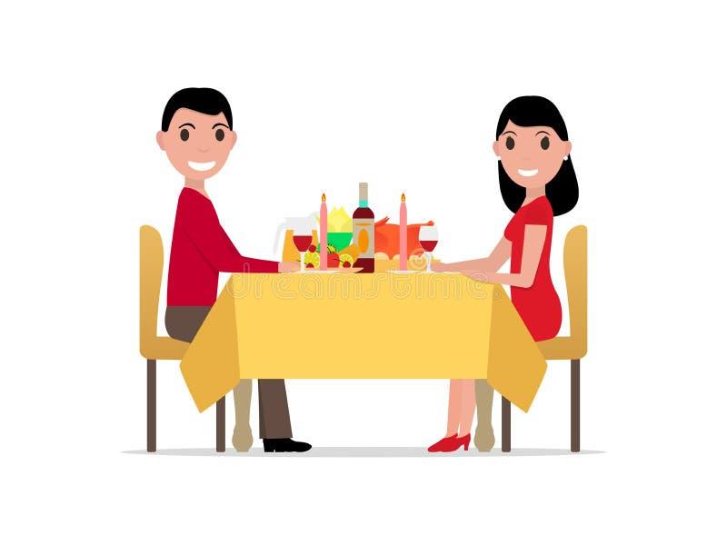 由烛光的传染媒介动画片浪漫晚餐 库存例证