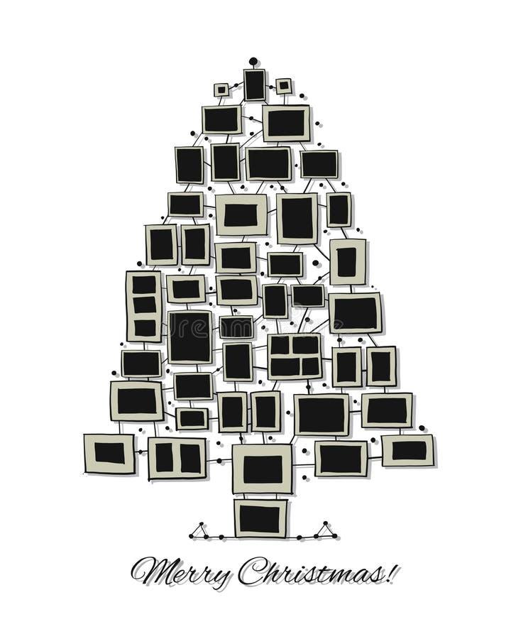 由照片框架做的圣诞树,您的设计的贺卡 库存例证