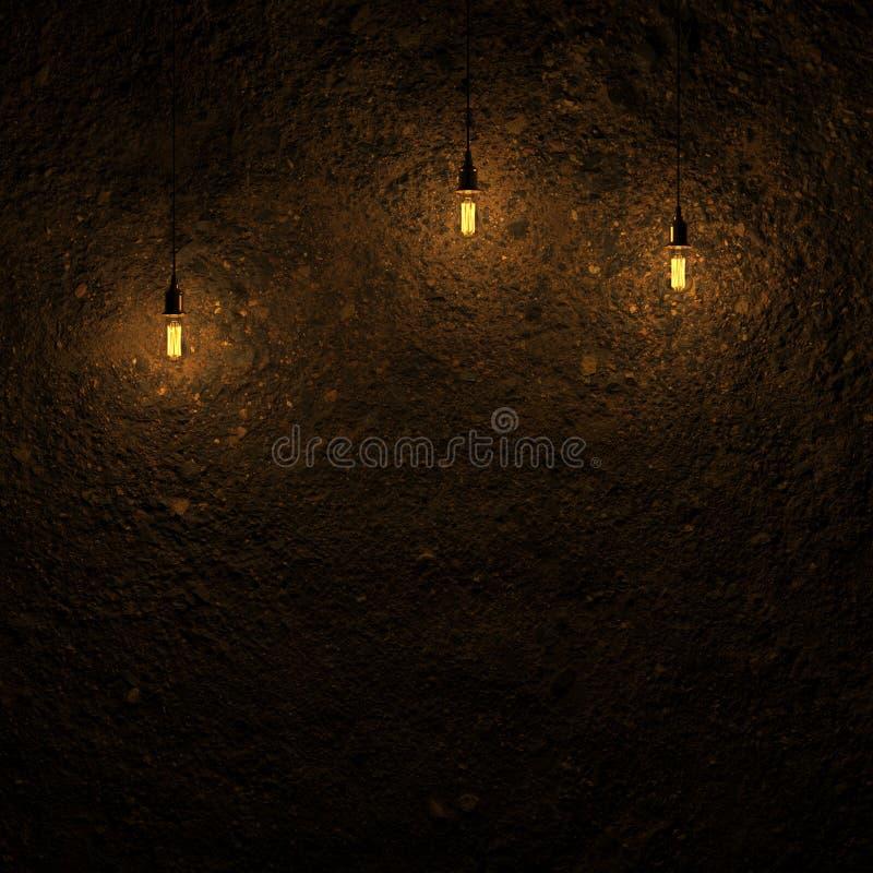由爱迪生灯3d翻译的被突出的地面墙壁 库存例证