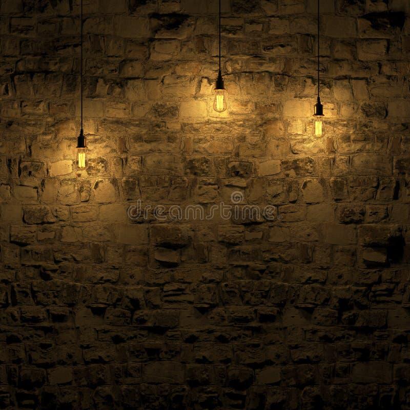 由爱迪生灯3d翻译的被突出的石墙 向量例证