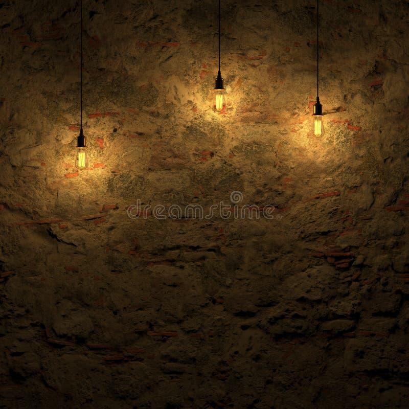 由爱迪生灯3d翻译的被突出的石墙 库存例证
