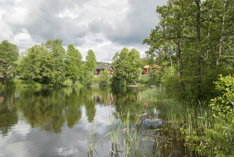 由瑞典河的风景 免版税库存照片