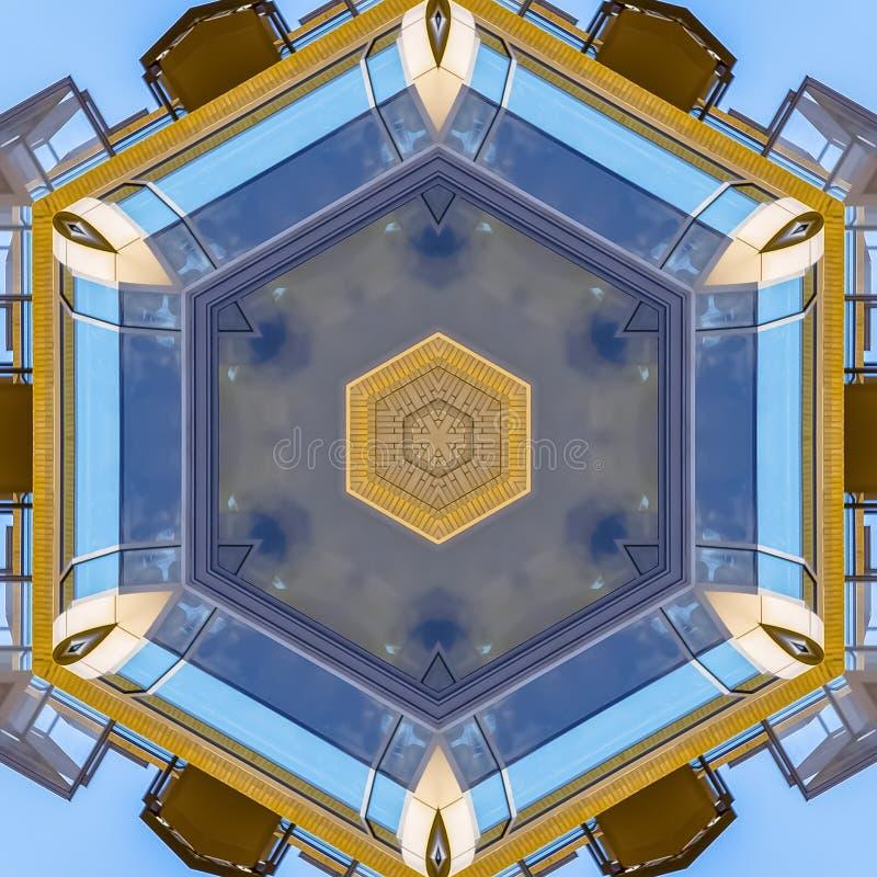由甲板和窗口做的方形的框架星形状 库存例证
