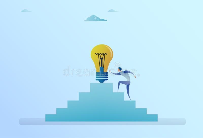由电灯泡新的想法发展概念决定的商人上升的台阶 向量例证