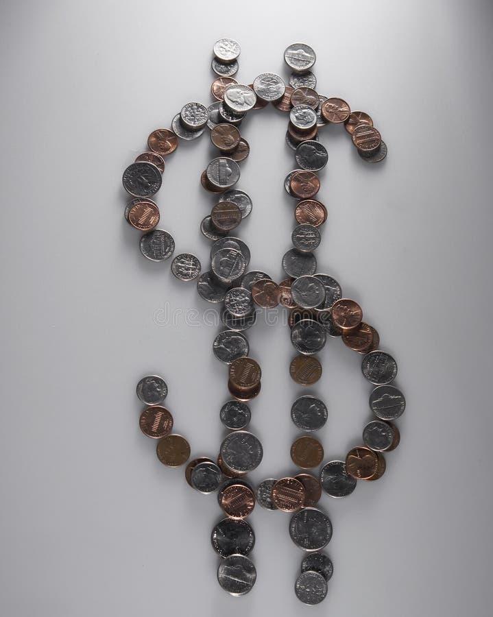 由硬币做的美元标志 库存照片