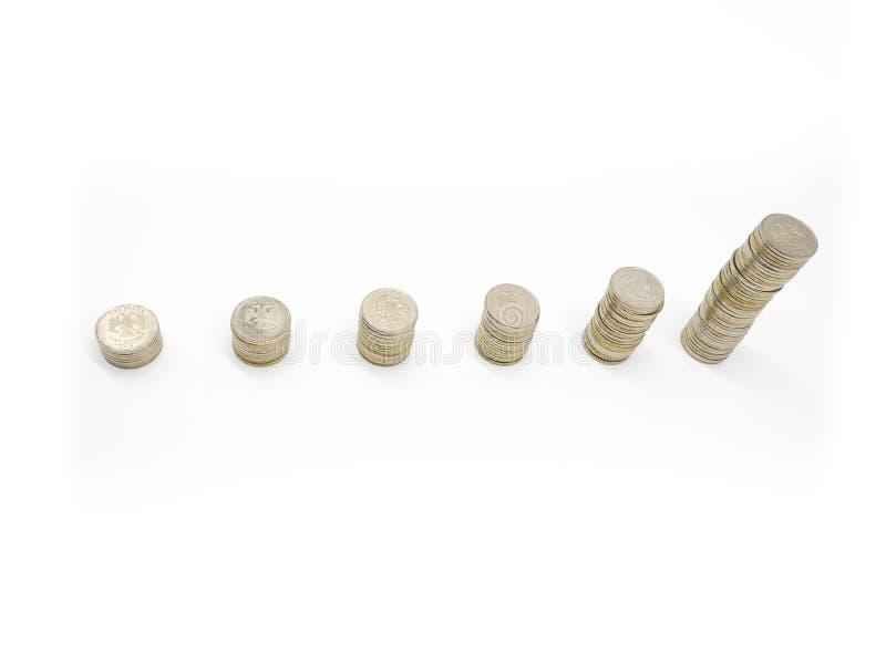 由硬币做的长条图被隔绝在白色与文本的自由空间 银币堆另外上流 免版税库存图片