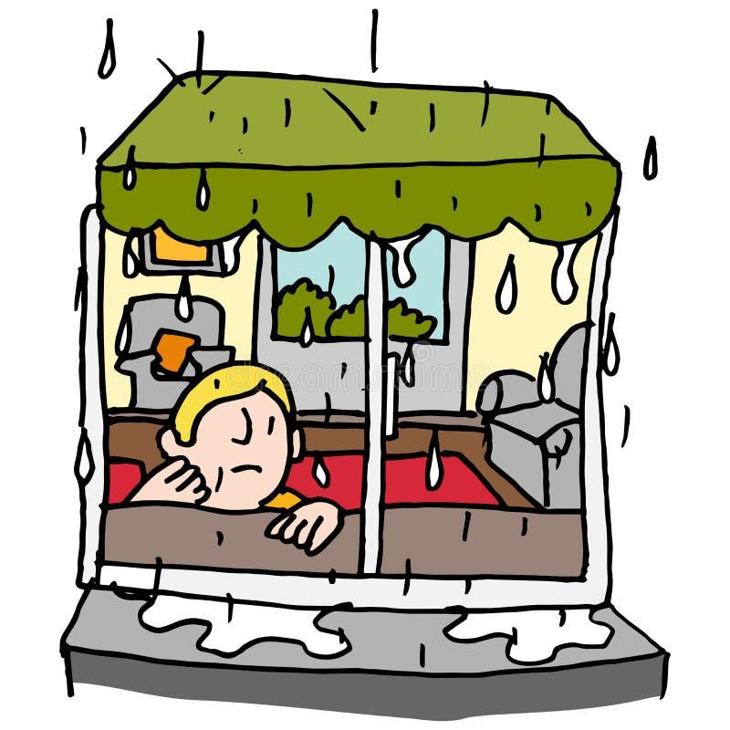 由窗口供以人员坐一个雨天 库存例证