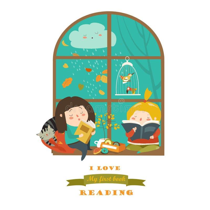 由窗口的逗人喜爱的女孩阅读书 库存例证