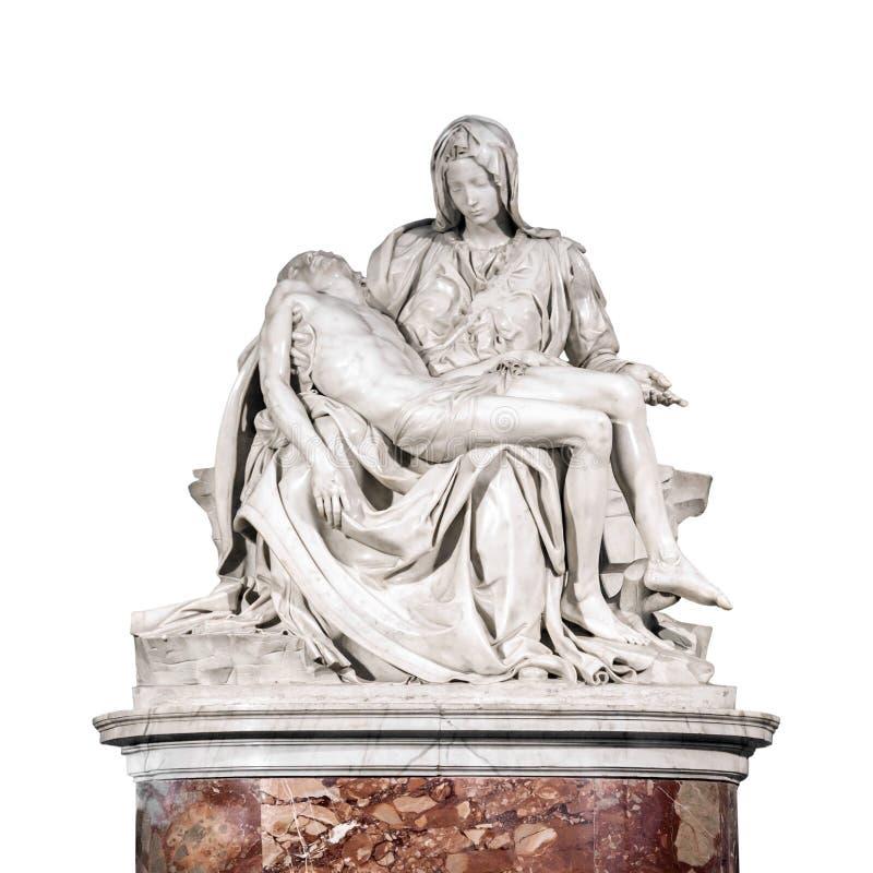 由米开朗基罗的圣母怜子图雕塑在白色背景隔绝了 免版税库存照片