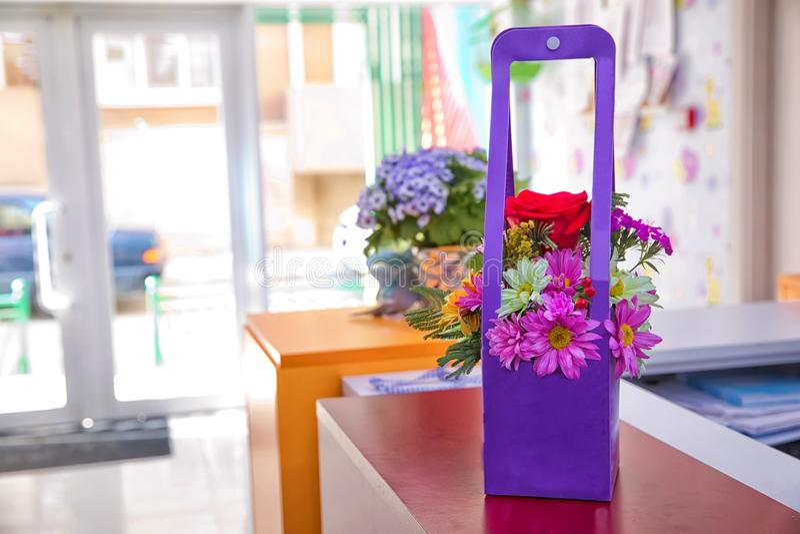 由纸做的紫色花花束 淡紫色雏菊 紫色花隔绝与裁减路线 野花三叶草花束我 免版税图库摄影