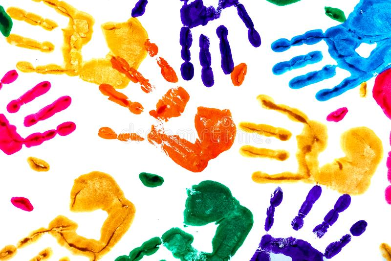由色的handprints做的抽象背景 向量例证