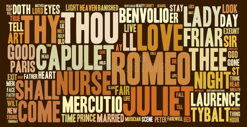 罗密欧和Juliet词云彩 图库摄影