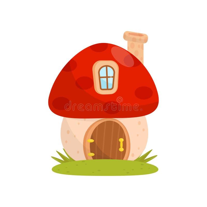 由蘑菇做的小屋,童话地精、矮人或者矮子传染媒介例证的幻想房子在白色 向量例证