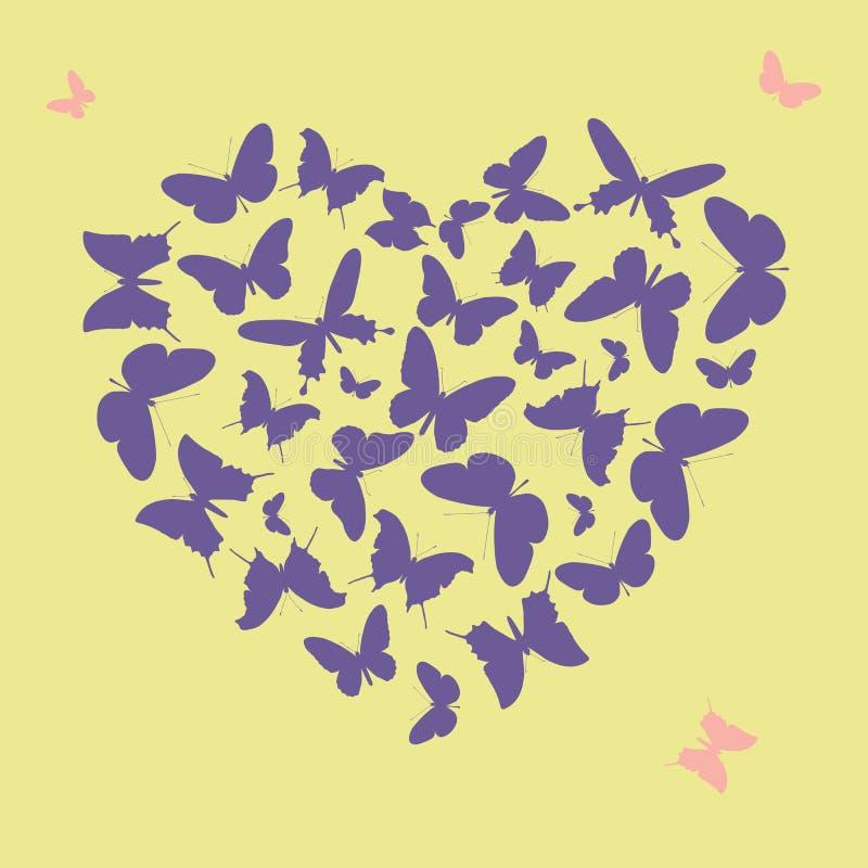 由蝴蝶剪影做的紫外心脏形状 库存例证