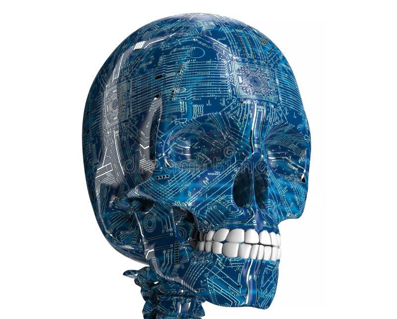 由计算机电路板做的人的头骨 向量例证