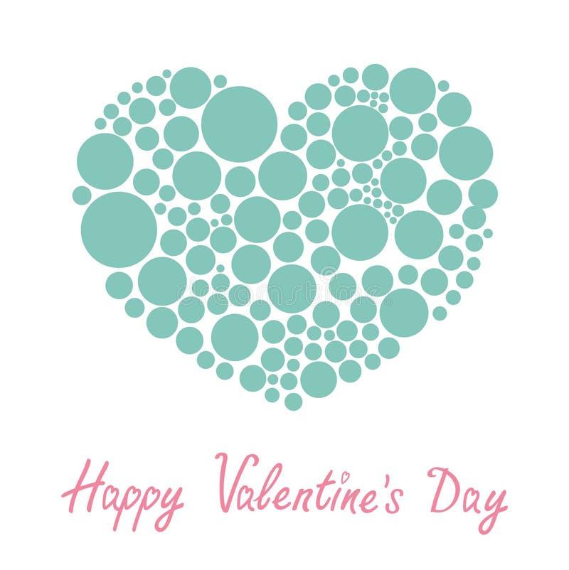 由许多圆的小点做的蓝色心脏爱卡片平的设计愉快的情人节 向量例证