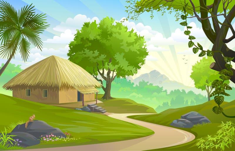 由路的一个小屋在森林中间 库存例证