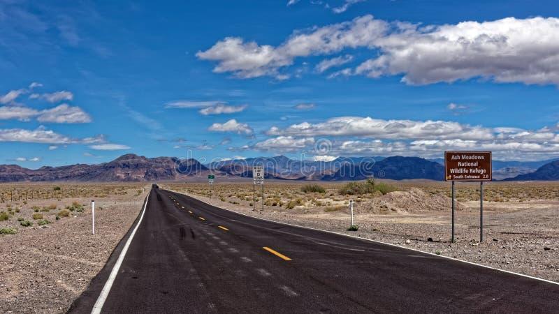 由路的标志在死亡谷 库存照片