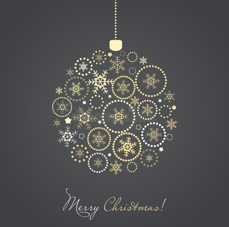 由金和银雪花做的圣诞节球 皇族释放例证