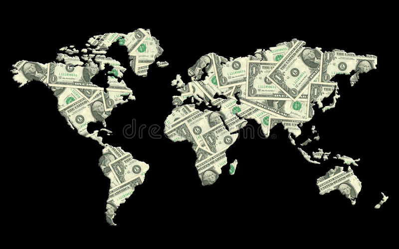 由金钱纹理做的世界地图。 库存例证