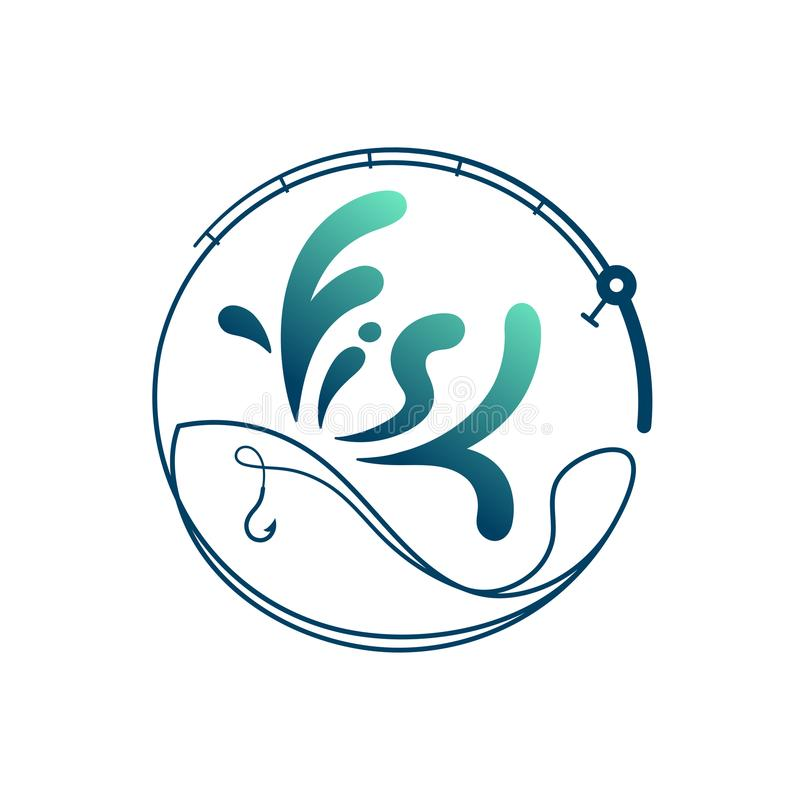 由钓鱼竿做的鱼构筑圈子形状,商标象布景绿色和深蓝梯度彩色插图 皇族释放例证
