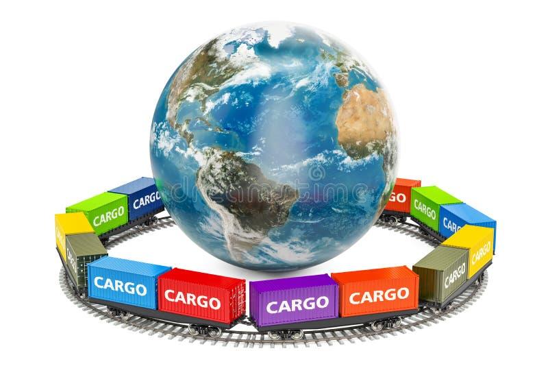 由铁路运送货物交付环球, 3D翻译 库存例证