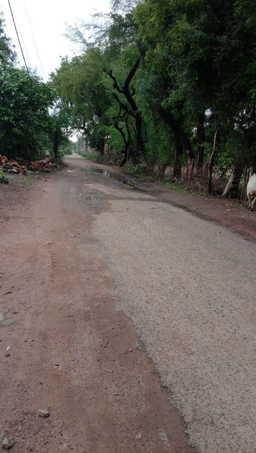 由雨恶劣的村庄设施的印度公路损伤 免版税库存图片