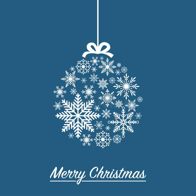 由雪花做的圣诞节球- Xmas假日卡片 向量 向量例证