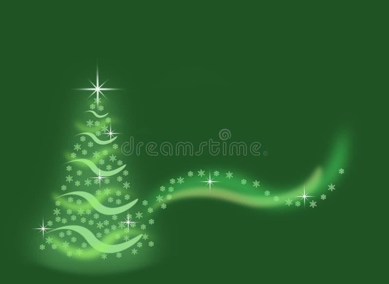 由雪花做的抽象绿色圣诞树有闪闪发光背景 库存例证