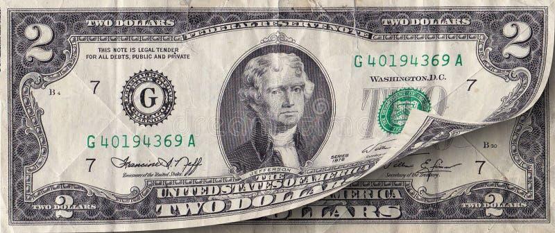 由面值的笔记美国的2美元由古芝的 库存例证