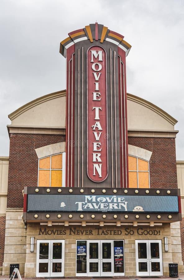由马尔库斯剧院的电影小酒馆提供在电影院里用餐 免版税库存图片