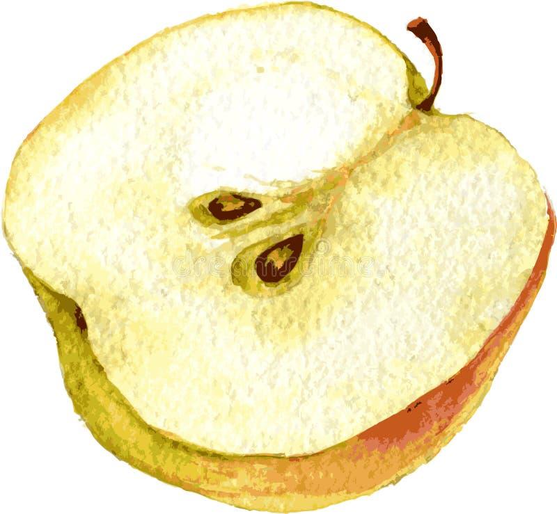 由水彩的半苹果图画 皇族释放例证