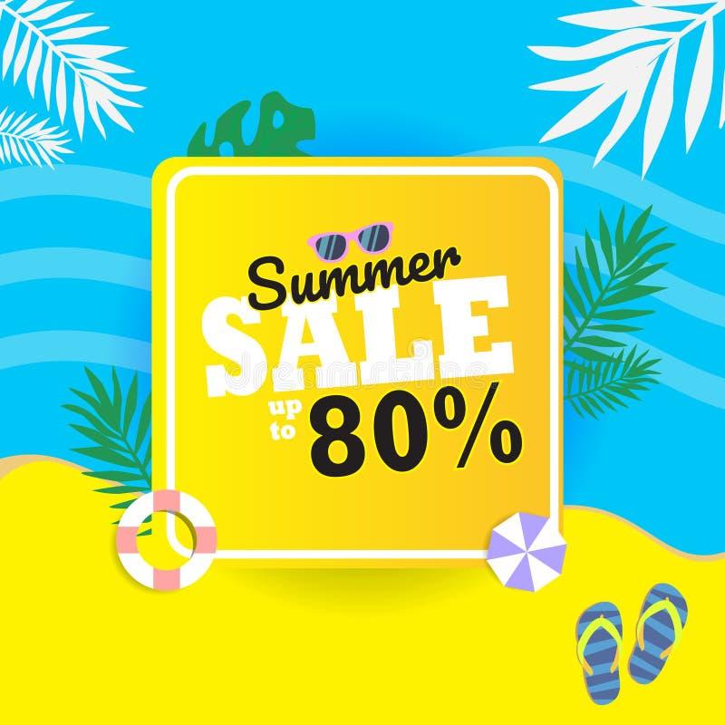 由80%横幅决定的夏天销售 让` s晒日光浴在海滩 皇族释放例证