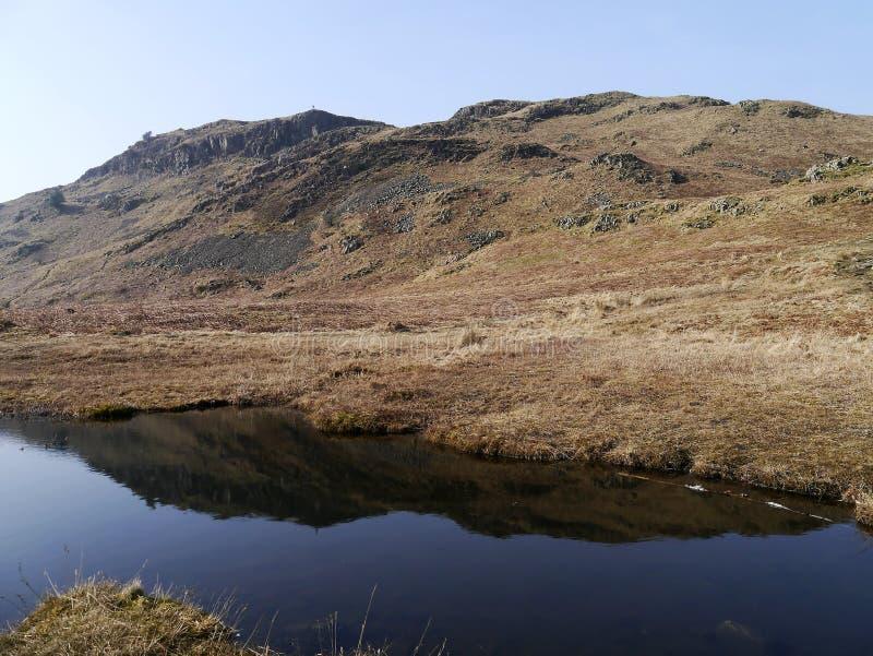 由水池查寻对Loughrigg下跌,湖区 库存图片