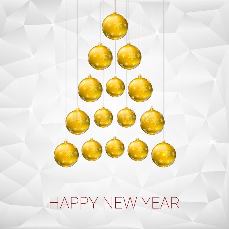 由黄色球做的圣诞树 传染媒介您的贺卡的例证模板 向量例证