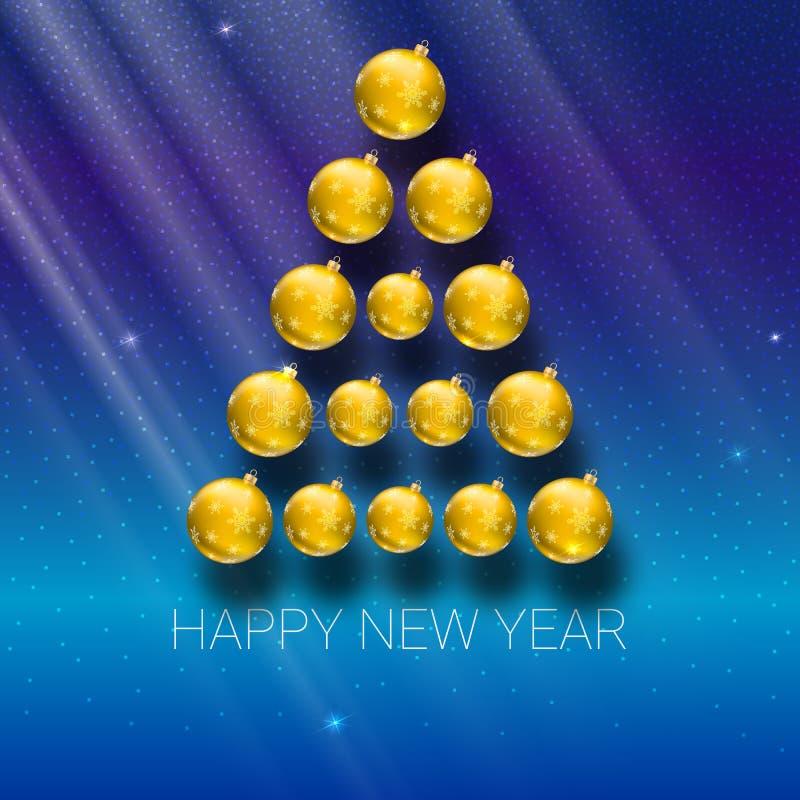 由黄色球做的圣诞树 传染媒介您的贺卡的例证模板 库存例证