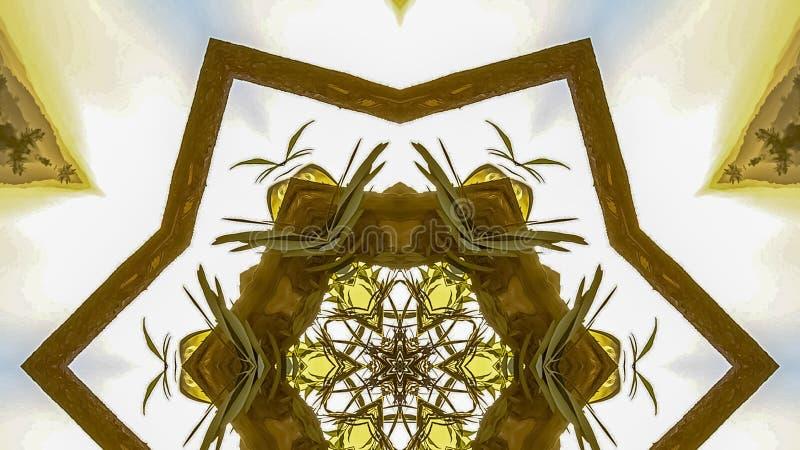 由Chuppah的木头做的全景有角六角星 免版税库存图片